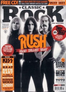 Rush on the cover of Classic Rock, July 2015