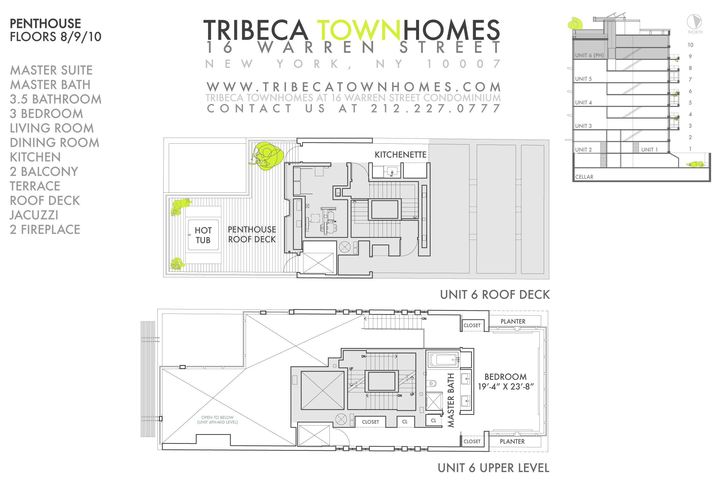 PH TRIBECA TRIPLEX 3 BRDS 3.5 BATH IN GREEN BUILDING