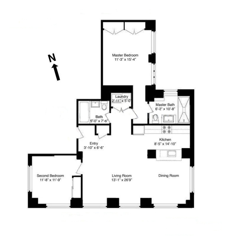 Corner 2 Bedroom, 2 Bathroom Loft w/ Dining Area