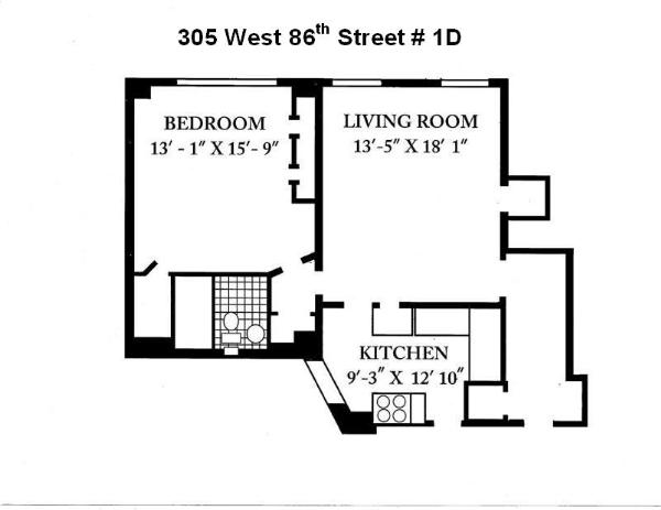 305 west 86th st 1d co op apartment sale in upper west for Living room 86th st