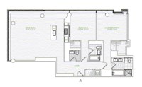 floorplan for 1 River Terrace #26D