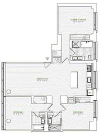 floorplan for 1 River Terrace #9N