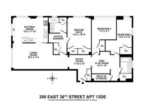 floorplan for 200 East 36th Street #13DE