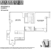 floorplan for 1 River Terrace #9B