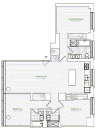 floorplan for 1 River Terrace #4N