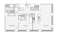 floorplan for 1 River Terrace #18B