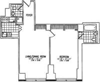 floorplan for 845 United Nations Plaza #25B