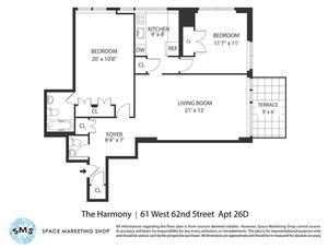 floorplan for 61 West 62nd Street #26D