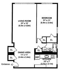 floorplan for 200 East 36th Street #13G