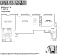 floorplan for 1 River Terrace #12A