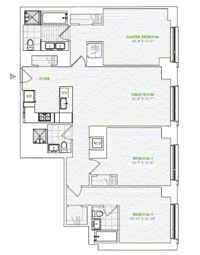 floorplan for 1 River Terrace #5M