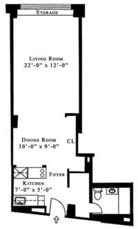 floorplan for 61 West 62nd Street #5MN