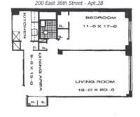 floorplan for 200 East 36th Street #2B