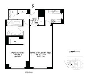 floorplan for 15 Central Park West #8K