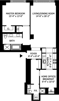 floorplan for 15 Central Park West #16J