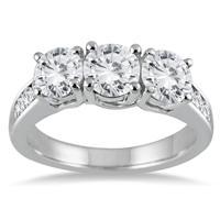 3 Carat TW Diamond Three Stone Ring in 14K White Gold