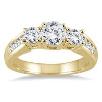 1 1/2 Carat TW Diamond Three Stone Ring in 10K Yellow Gold