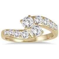 1 Carat TW Two Stone Diamond Ring in 10K Yellow Gold