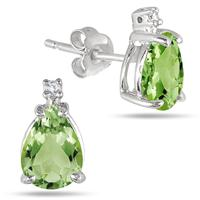 1.40 Ct. Pear Shaped Peridot & Diamond Earrings - Sterling Silver