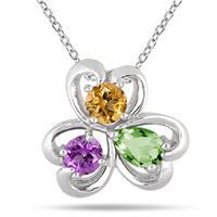 Multi-Color Heart Clover Gemstone Pendant in .925 Sterling Silver