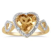 2.00 Carat Citrine and Diamond Double Heart Ring in 18K Yellow Gold Plated Silver