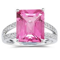 7 Carat Emerald  Cut Pink Topaz and Diamond Ring 10k White Gold