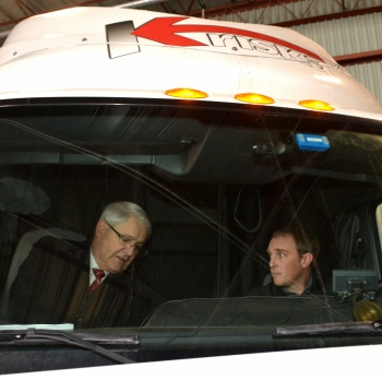 Transport Minister Marc Garneau (left) discusses Electronic Logging Devices, after announcing plans to mandate the equipment in Canada.