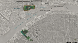 Map of the proposed Gordie Howe International Bridge site. Photo by WDBA