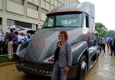 Julie Furber, executive director of electrification business development for Cummins, introduced the Aeon in a rainstorm