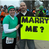 Marriage proposal at finish line