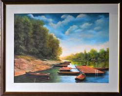 Splendid Original Pastel By Serbian Artist Remete