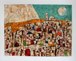 Famous Artist Harry Guttman Jerusalem at Dawn