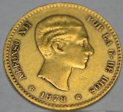 Spain 10 Pesetas Gold Error 1878/78