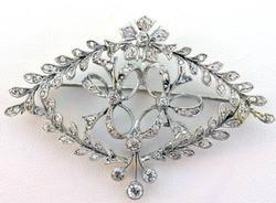 Fantastic 14kt gold diamond brooch, vintage