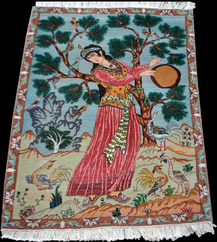 Splendid and Enchanting Fine Persian Tabriz Pictorial 3x4