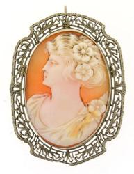 Antique cameo brooch, 10kt gold