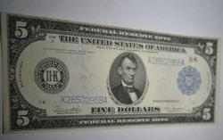 $5 Fed Reserve Note Dallas Series 1914 With Fibers