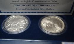 Scarce 2001 American Buffalo Silver Dollar Proof & Unc Set w box papers
