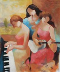 Master Original Art By Gholam Yunessi Ladies In Song