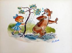 A CHILD CHASING A BEAR, SIGNED AL PARELLA