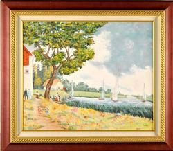 Lovely And Tranquil Country River Scene By A Alden