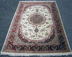 Remarkable Rare Super Fine Authentic Handmade all Silk Persian Rug, Signed