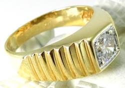 Fancy Gents 14kt Yellow Gold Diamond Ring