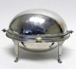 Rare English 1911 Sterling Silver Revolving Warming Dish