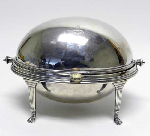 English 1911 Sterling Silver Rare Revolving Warming Dish
