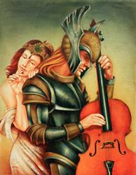 Original Oil By Edgar Barrios, Love Warrior