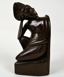 ELEGANT TALL HAND-CARVED HARD WOOD BOOKEND