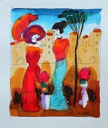 Moshe Leider 'In The City' Original Watercolor