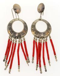 CORAL DANGLING EARRING ON SILVER