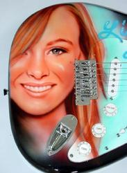 LINDSAY LOHAN AUTOGRAPHED AIRBRUSH GUITAR